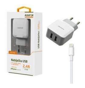 Aligator Nabíječka pro iPh 5/6/7/8 s 2xUSB výstupem 2,4A, Turbo charge, bílá