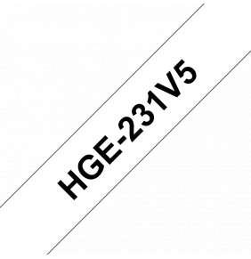 Brother - HGE231V5, bílá / černá, 12 mm (pro PT 9xxx) - balení 5 ks