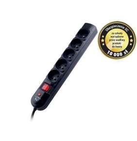 Tracer PowerPatrol predlžovací prívod (5 zásuviek), vypínač, 5m, čierny
