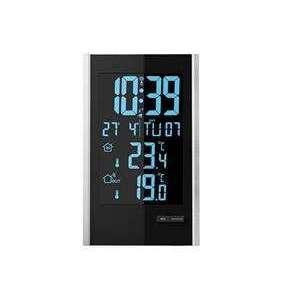 Solight meteostanice, LCD s voliteľnou farbou podsvícení, vnútorná/vonkajšia teplota, RCC, čierna / strieborná