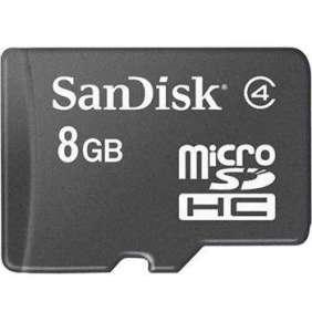 Nuvo SanDisk microSDHC karta 8GB class 4, bez adaptéra