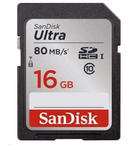 SanDisk 16GB SDHC Ultra Card (80 MB/s Class 10 UHS-I)
