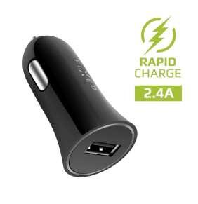 Autonabíječka FIXED, Micro USB, 2,4A, černá