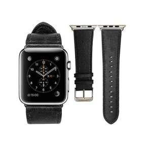 Jisoncase kožený remienok pre Apple Watch 42/44 mm - Black