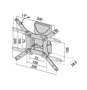 "TB TV wall mount TB-152 up to 42"", 20kg max VESA 200x200"