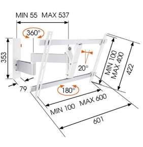 """LCD rameno Vogel´s W53081, 40-65"""", 3 klouby, bílé"""