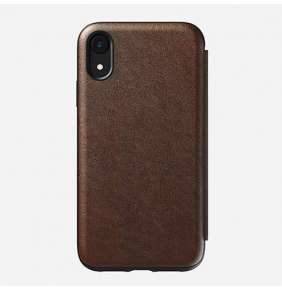 Nomad puzdro Rugged Tri-Folio pre iPhone XR - Rustic Brown Leather