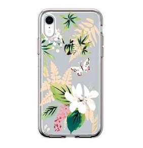 Comma kryt Butterfly Crystal Flower Series pre iPhone XR - White