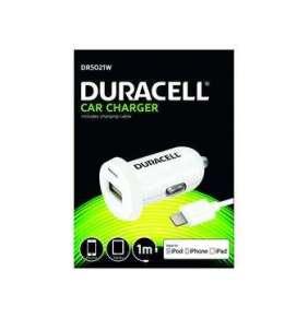 Duracell Auto-nabíječka s 1m lightning kabelem (12/24V) bílá