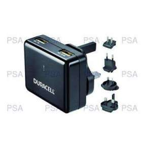 Duracell Dual USB Wall Charger 2.4A &amp 1A, Travel Adapter for Smartphones &amp  Tablets
