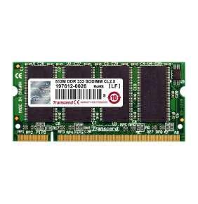SODIMM DDR 256MB 333MHz TRANSCEND 1Rx16, CL2.5