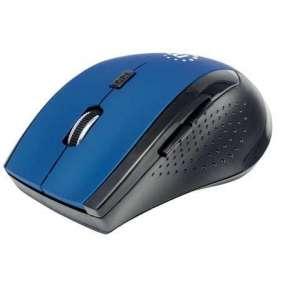 MANHATTAN Myš Curve, USB, optická, bezdrátová, 5-tlačítková, 1600 dpi, modro-černá