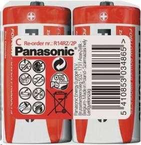 PANASONIC Zinkouhlíkové baterie Red Zinc R14RZ/2P C 1,5V (shrink 2ks)