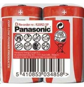 PANASONIC Zinkouhlíkové baterie Red Zinc R20RZ/2P D 1,5V (shrink 2ks)