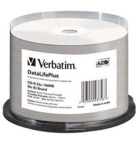 VERBATIM CD-R(50-pack) spindl, AZO 52X,700MB,WHITE WIDE THERMAL PRINTABLE SURFACE NON-ID