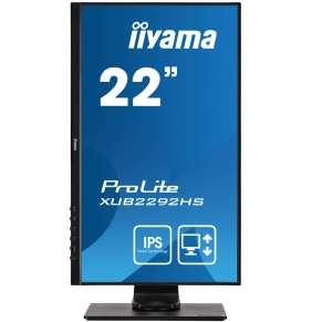 """22"""" iiyama XUB2292HS-B1: IPS, FullHD@75, 250cd/m2, 4ms, VGA, HDMI, DP, height, pivot, černý"""