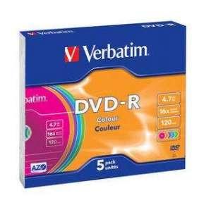 VERBATIM DVD-R 4,7 GB (120min) 16x colour slim box, 5ks/pack