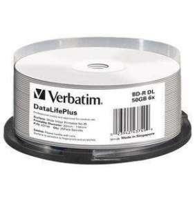 VERBATIM BD-R(25-pack)Blu-Ray/spindle/DL+/6x/50GB/ WIDE PRINTABLE NO ID SURFACE HARD COAT