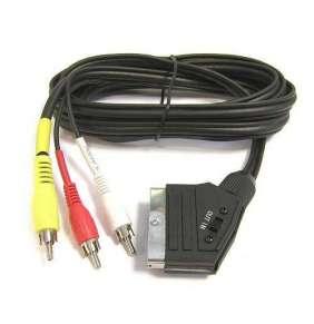 PremiumCord Kabel SCART - 3xCINCH M/M 1.5m in/out přepínač