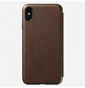 Nomad puzdro Rugged Folio pre iPhone XS Max - Rustic Brown Leather