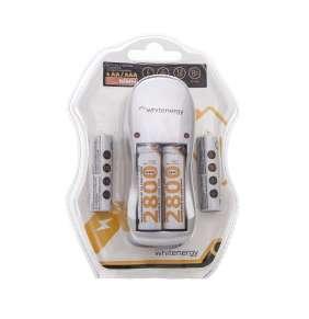 Whitenergy nabíjačka pre 4 akumulátory AA/AAA + 4xAA/R6 2800mAh - blister