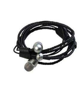 MIDBASS WRAPS Core- titánové slúchadlá do uší s mikrofónom / náramok -  čierna koža, slúchadlá strieborné