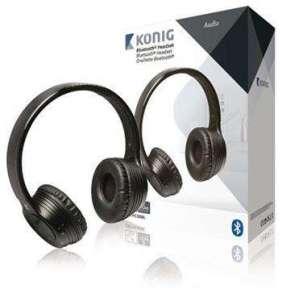 König CSBTHS300BL - Headset Na Uši Bluetooth Vestavěný Mikrofon, černá