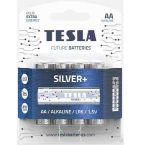 TESLA SILVER Alkaline baterie AA (LR06, tužková, blister) 4 ks