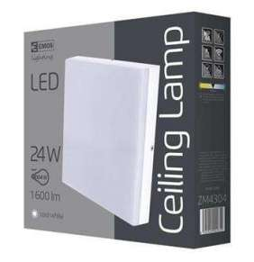 Emos přisazené LED svítidlo, čtverec 24W/100W, CW studená bílá, IP44