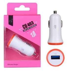 PLUS nabíječka do auta CU403, konektor USB, 1A, bílá s růžovým okrajem