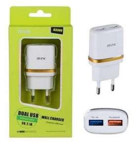 PLUS síťová nabíječka K3366 MT.K, konektor 2x USB, 2,1 A, bílá