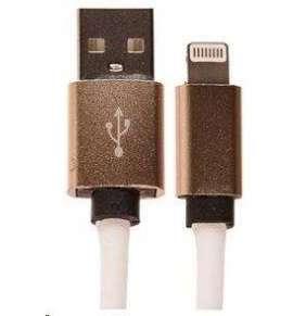 CELLFISH univerzální kabel kožený, Lightning, bílá