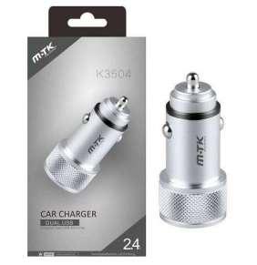PLUS nabíječka do auta K3504, konektor 2x USB, 2,4 A, stříbrná