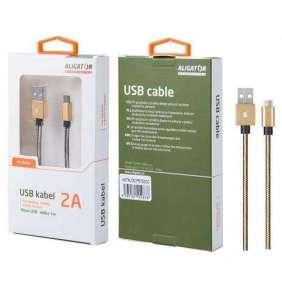 Aligator datový a nabíjecí kabel P5732, konektor micro USB, zlatá