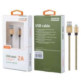 Aligator datový a nabíjecí kabel P5729, konektor Lightning, 2A,1m, zlatá