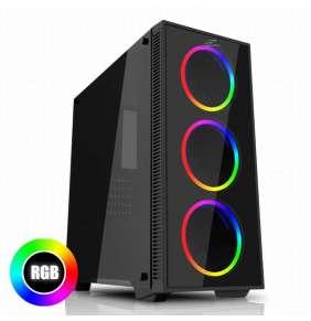 EVOLVEO Ray 2RB, case ATX, 3x RGB rainbow ring ventilátor