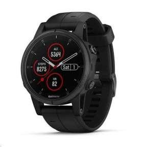 GARMIN GPS chytré hodinky fenix5S Plus Sapphire Black, Black Band, Performer TRI Bundle