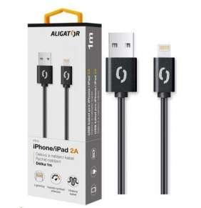 Aligator datový a nabíjecí kabel, konektor Lightning, 2A,1m, černá