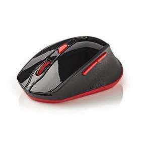 Nedis MSWS300RD - Bezdrátová myš | 800/1 200/1 600 DPI | 6 Tlačítek | Černá / Červená