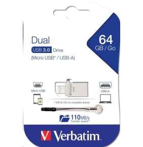 VERBATIM Flash Disk 64GB Store 'n' Go OTG, Micro USB, USB 3.0, stříbrná