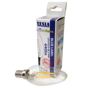 TESLA LED žárovka FILAMENT RETRO svíčka/ E14/ 4W/ 230V/ 470lm/ 2700K/ teplá bílá/ čirá