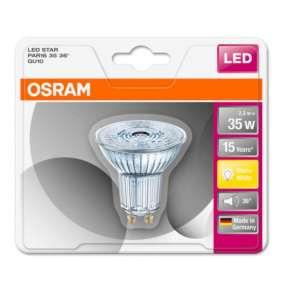 OSRAM LED STAR PAR16 36° 2,6W 827 GU10 230lm 2700K (CRI 80) 15000h A++ (Krabička 1ks)