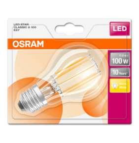 OSRAM LED Filament STAR ClasA  230V 11W 827 E27 noDIM A++ Sklo čiré 1521lm 2700K 10000h (blistr 1ks)