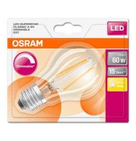 OSRAM LED Filament SUPERSTAR ClasA  230V 7,5W 827 E27 DIM A+ Sklo čiré 806lm 2700K 15000h (blistr 1ks)