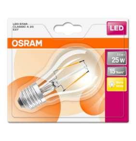 OSRAM LED STAR CL A Filament 2,5W 827 E27 250lm 2700K (CRI 80) 15000h A++ (Blistr 1ks)