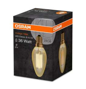 OSRAM LED Filament Vintage 1906 ClasB  230V 4,5W 825 E14 noDIM A+ Sklo čiré GOLD 420lm 2500K 15000h (krabička 1ks)