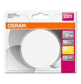 OSRAM LED STAR 25 kompaktní na pin 100° 230V 3,6W 827 GX53 noDIM A+ Sklo 270lm 2700K 15000h (blistr 1ks)