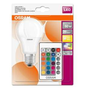OSRAM LED STAR+ CL A RGBW Fros. 9W 827 E27 806lm 2700K (CRI 80) 25000h A+ DIMmable Rem Ctrl (Krabička 1ks)