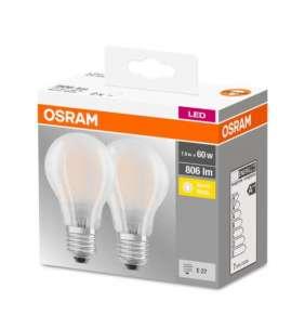 OSRAM LED BASE CL A GL Fros. 6,5W 827 E27 806lm 2700K (CRI 80) 10000h A++ (Krabička 2ks)