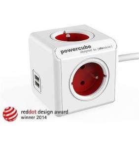 Zásuvka prodluž. PowerCube EXTENDED USB, Red, 4 rozbočka, 2x USB, kabel 1,5m